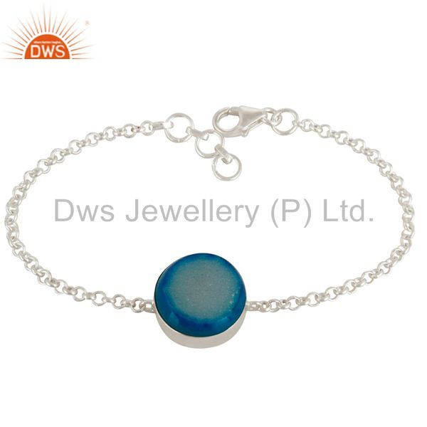 Natural Druzy Agate 925 Sterling Silver Chain Bracelet