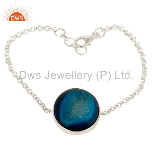 Natural Druzy 925 Sterling Silver Chain Bracelet Party Wear Jewelry
