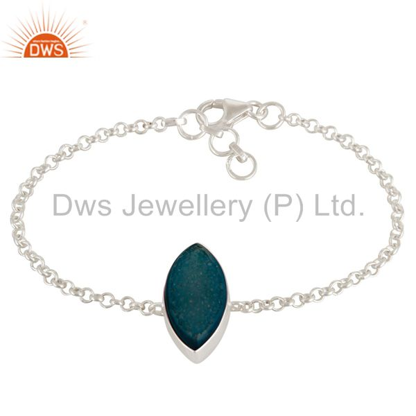 Marquise Cut Natural Blue Druzy Solid Sterling Silver Chain Bracelet