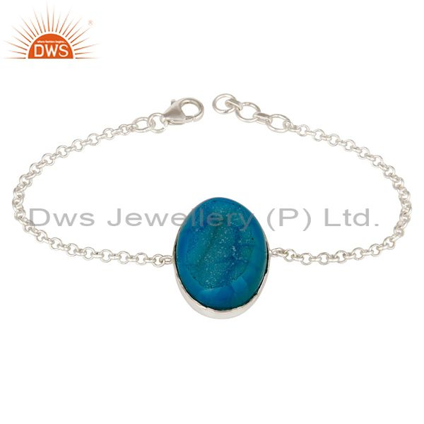 925 Sterling Silver Blue Druzy Agate Womens Chain Bracelet With Lobster Lock