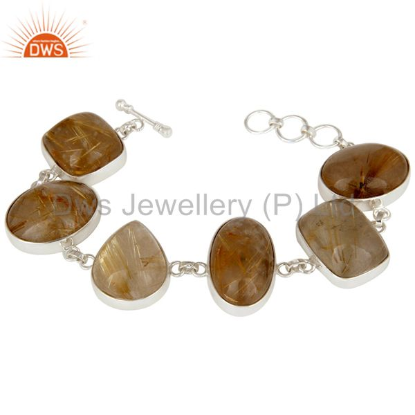 Handmade Sterling Silver Golden Rutilated Quartz Bezel Set Gemstone Bracelet