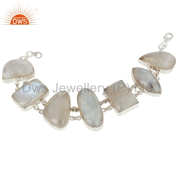 Natural Rainbow Moonstone Bezel Set Bracelet Made In Solid Sterling Silver