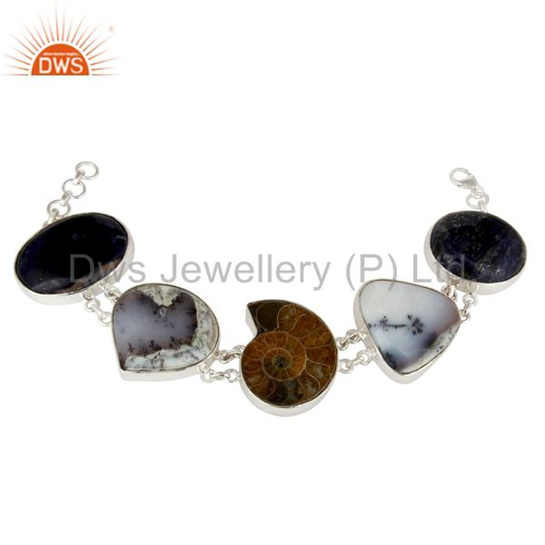 Natural Ammonite, Lapis Lazuli And Dendritic Opal Sterling Silver Bracelet