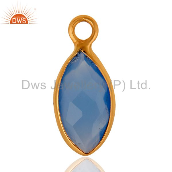22K Yellow Gold Plated Sterling Silver Aqua Chalcedony Gemstone Charms Jewelry