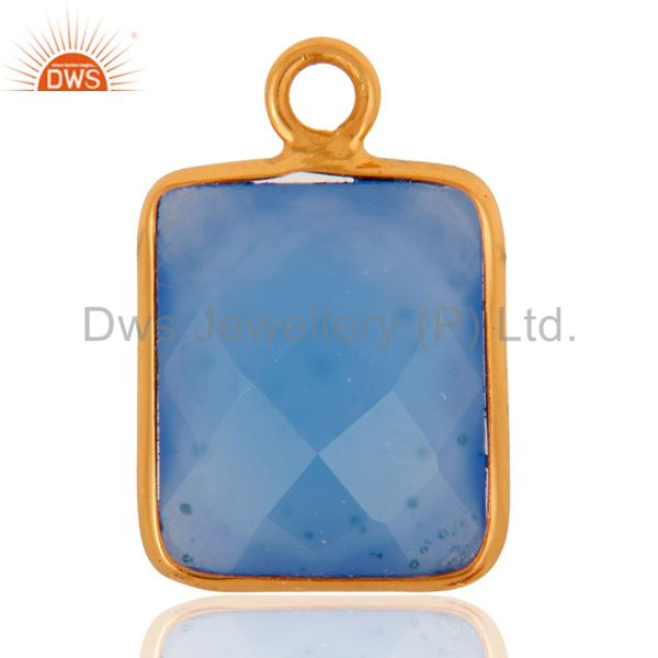 18K Gold Plated Sterling Silver Blue Aqua Chalcedony Charm Findings