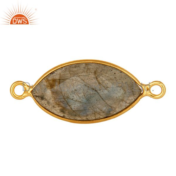 18K Yellow Gold Plated Sterling Silver Labradorite Gemstone Connector Jewelry