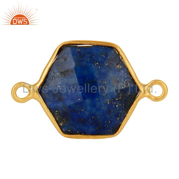 Handmade Sterling Silver Lapis Lazuli Gemstone Connector With Gold Plated
