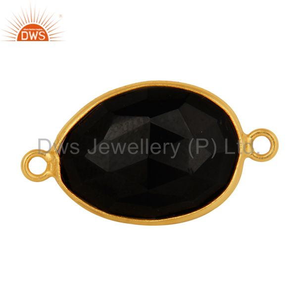 18K Gold Plated 925 Sterling Silver Black Onyx Gemstone Connector Jewelry