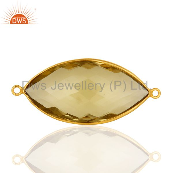 18K Yellow Gold Plated Sterling Silver Lemon Topaz Marquise Cut Connector 15*30