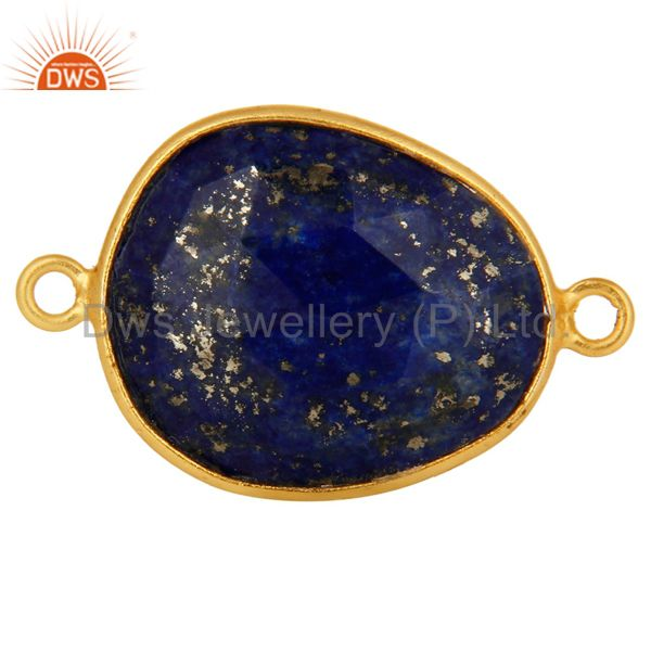18K Yellow Gold Plated Sterling Silver Lapis Lazuli Gemstone Bezel Set Connector
