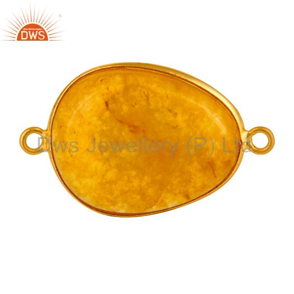 Natural Yellow Aventurine Gemstone Gold Plated Sterling Silver Connector
