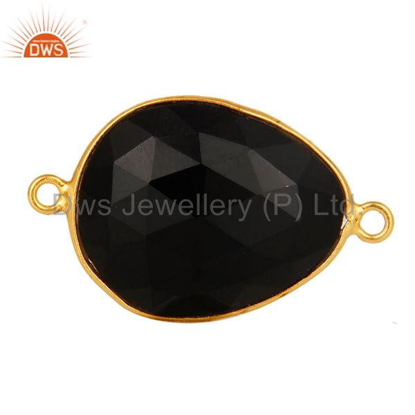 18K Yellow Gold Plated Sterling Silver Faceted Black Onyx Gemstone Connector