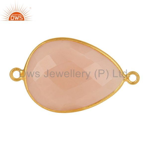 18K Gold Over Sterling Silver Dyed Rose Chalcedony Gemstone Connector