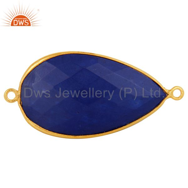 Natural Lapis Lazuli Gemstone Gold Plated Sterling Silver Connector Jewelry