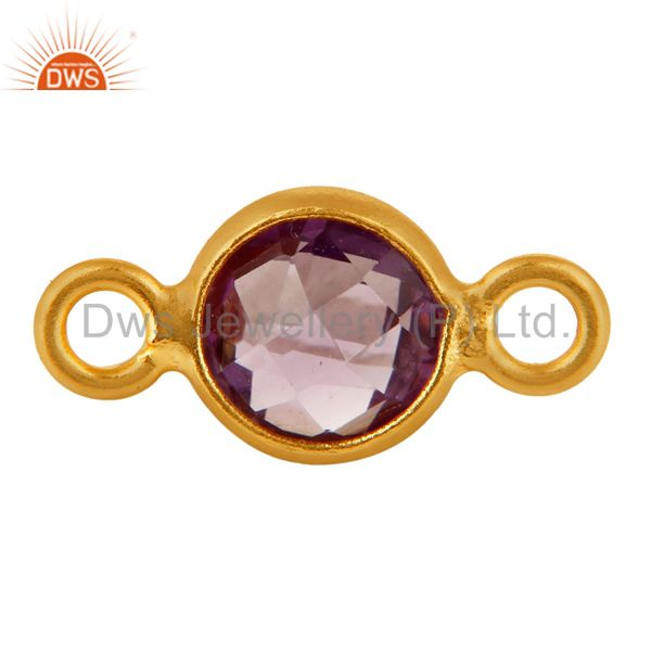 Natural Amethyst Gemstone Sterling Silver Connector - Yellow Gold Plated