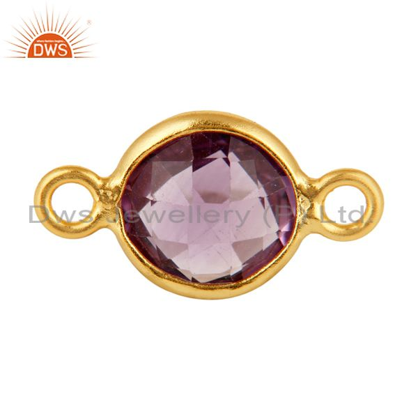 Natural Amethyst Gemstone Yellow Gold Plated Sterling Silver Connector