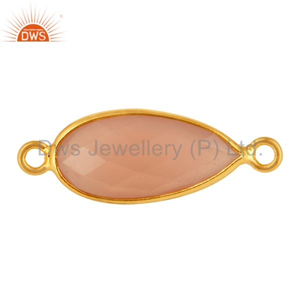 Rose Chalcedony Faceted Drop Bezel Gemstone Gold Plated Sterling Silver Connect