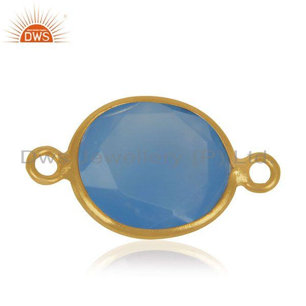 Blue Chalcedony Gemstone 925 Sterling Silver Gold Plated Connectors Manufacturer