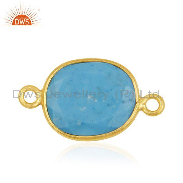 Turquoise Gemstone 925 Silver Gold Plated Connectors Manufacturer from India