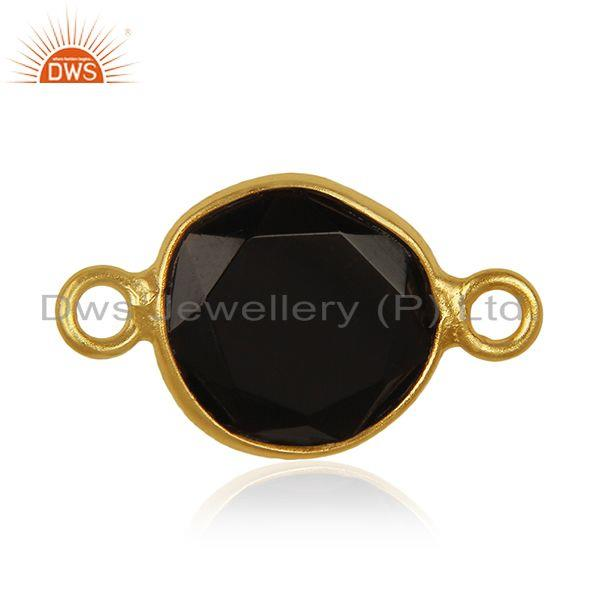 Black Onyx Gemstone 925 Silver Gold Plated Connectors Wholesale Supplier India
