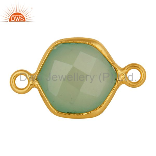 Dyed Green Chalcedony Gemstone Gold Plated Sterling Silver Bezel Set Connector