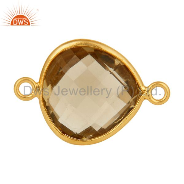 Natural Lemon Topaz Gemstone Heart Shape Gold Plated Sterling Silver Connector