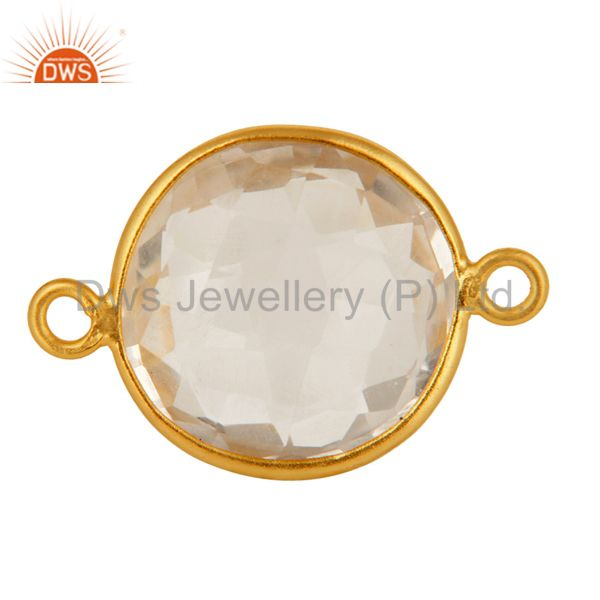 15mm Round Crystal Quartz Gold Plated 925 Silver Bezel Double Link Connector