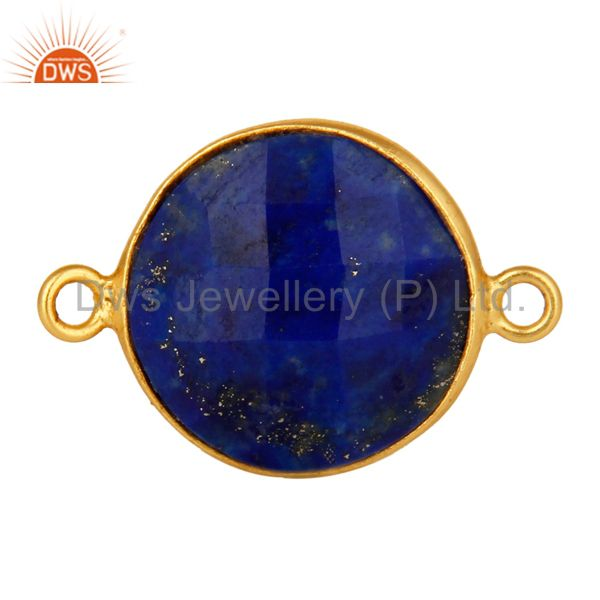 18K Yellow Gold Sterling Silver Faceted Lapis Lazuli Gemstone Bezel Connector