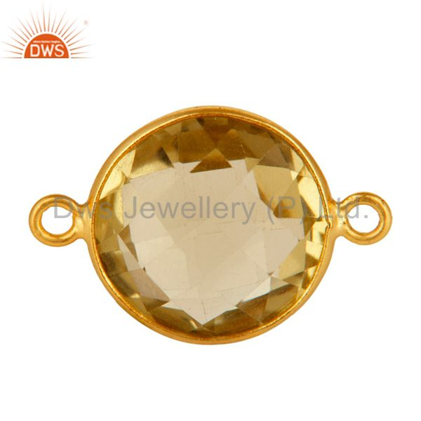 15mm Round Lemon Topaz Gold Plated Solid Silver Bezel-Set Double Link Connector