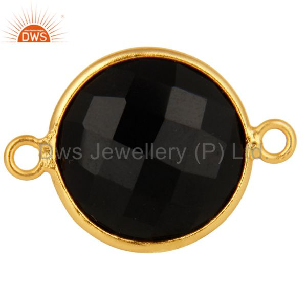 15MM Black Onyx Faceted Gemstone Sterling Silver Connector With Gold Plated