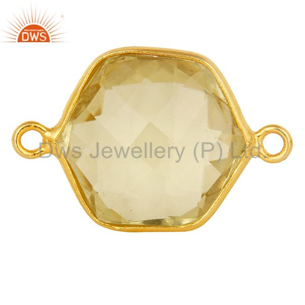 18K Yellow Gold Plated Sterling Silver Lemon Topaz Connector Jewelry