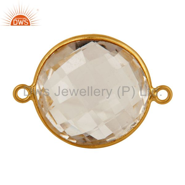 20mm Round Crystal Quartz Gold Plated Solid Silver Bezel Double Link Connector