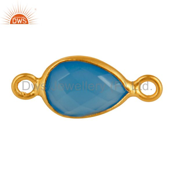 Drop Blue Chalcedony Sterling Silver Bezel Set Gemstones Connector - Gold Plated