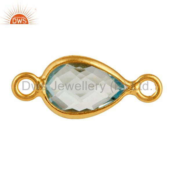 Gold Plated Sterling Silver Blue Topaz Bezeled Gemstone Double Link Connector