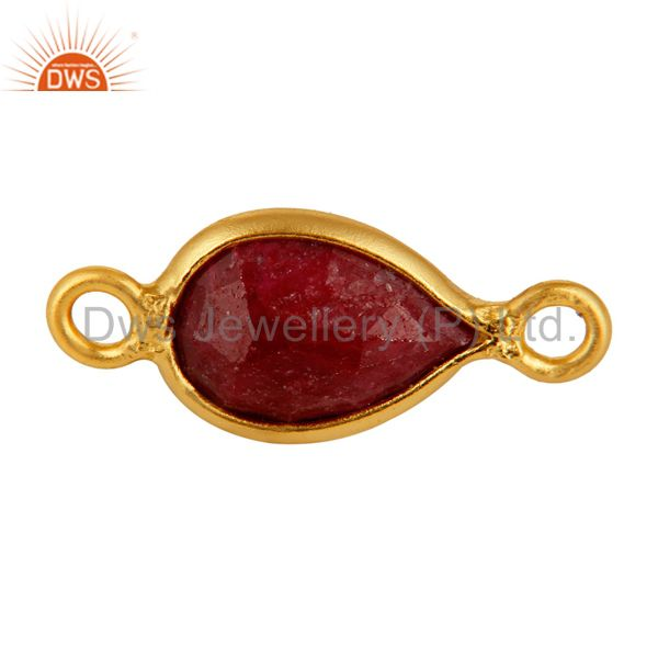 Ruby Red Corundum Gemstone Bezel-Set Sterling Silver Connector - Gold Plated