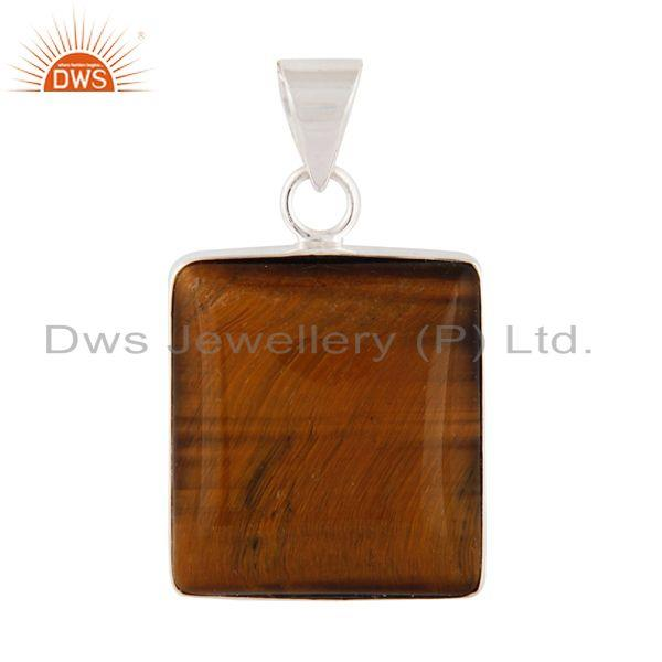 Indian Handcrafted Solid 925 Sterling Silver Natural Tiger Eye Gemstone Pendant