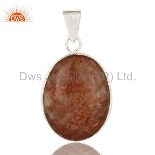 Handmade Solid Sterling Silver Natural Sunstone Pendant