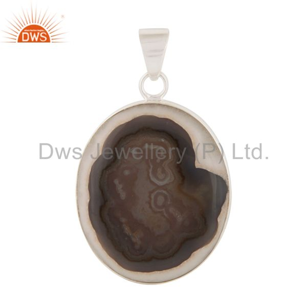 925 Sterling Silver Natural Ice Solar Quartz Gemstone Bezel Set Pendant
