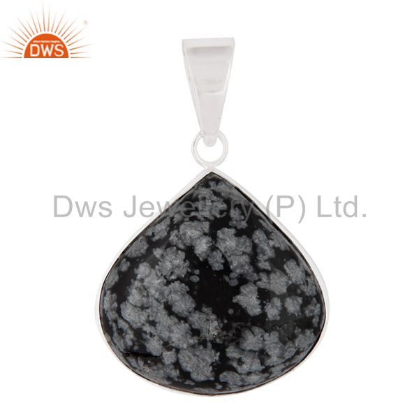 Natural Black Obsidian Gemstone Pendant Handcrafted Sterling Silver Jewelry