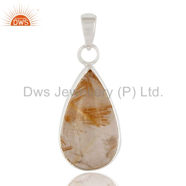 Natural Golden Rutilated Quartz 925 Sterling Silver Bezel-Set Gemstone Pendant