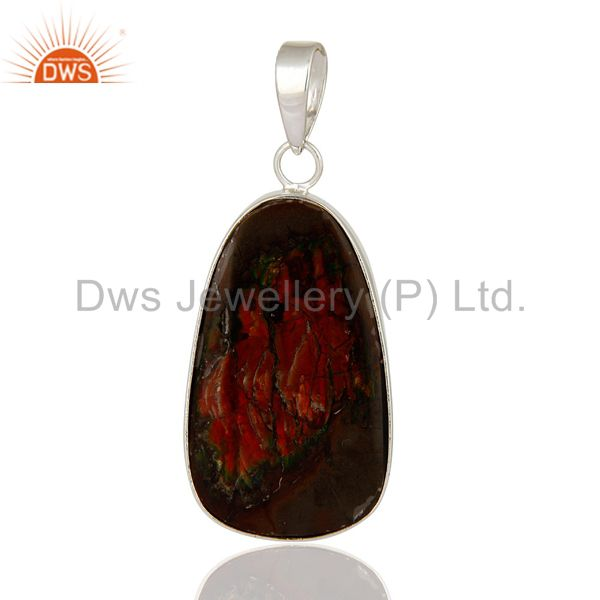 Natural Ammolite Gemstone Pendant Handcrafted In Solid Sterling Silver Jewelry