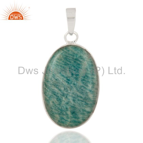 Natural Amazonite Gemstone Solid 925 Sterling Silver Handmade Pendant