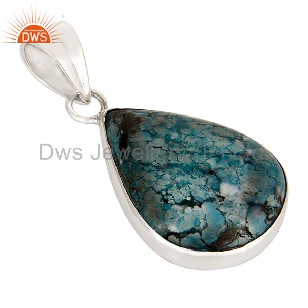 Solid Sterling Silver Natural Turquoise Gemstone Bezel Set Handmade Drop Pendant