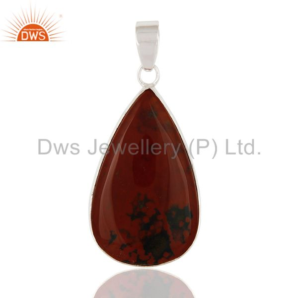 Artisan Made Natural Bloodstone Gemstone Sterling Silver Pendant - Fine Jewelry