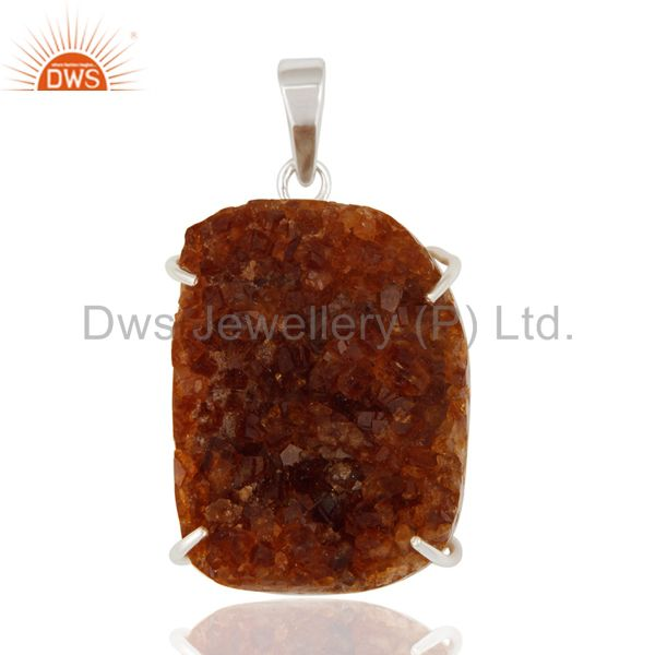 Natural Citrine Druzy Prong Setting Genuine Sterling Silver Handmade Pendant