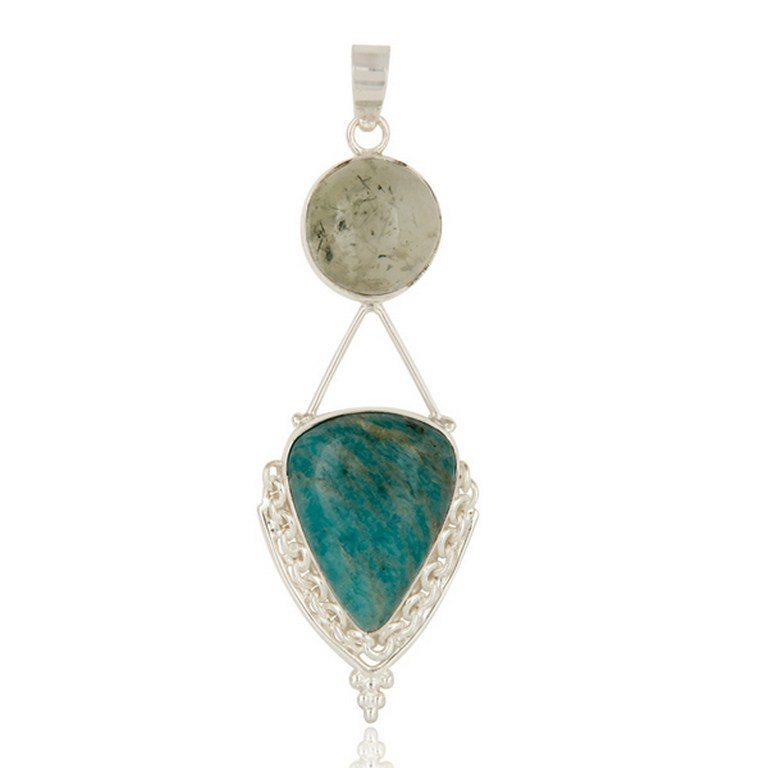 Handmade Sterling Silver Amazonite And Prehnite Gemstone Pendant