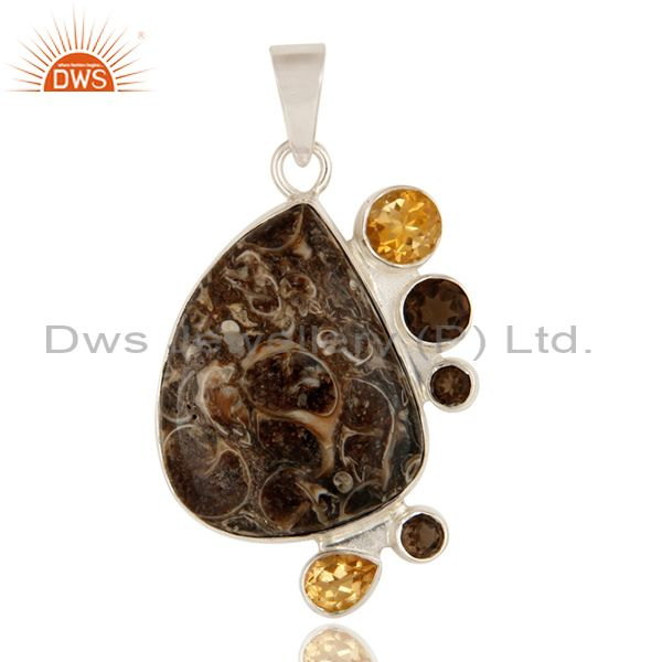 Handmade Turritella Agate, Smoky Quartz And Citrine Sterling Silver Pendant