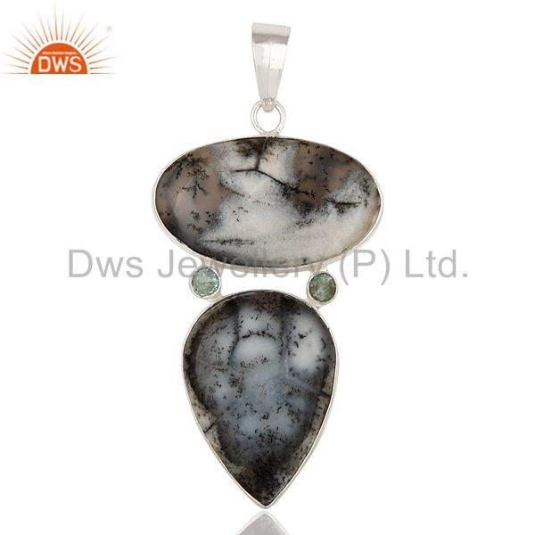 Handmade Dendritic Opal And Blue Topaz Pendant Made In Solid Sterling Silver