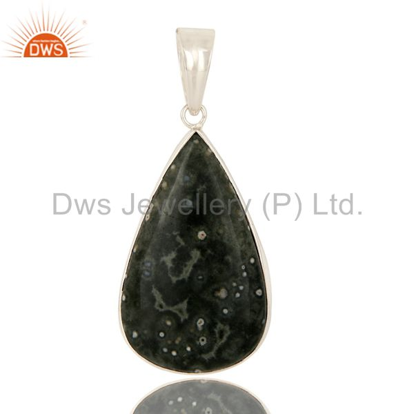Ocean Jasper Gemstone Bezel Set Pendant In Sterling Silver