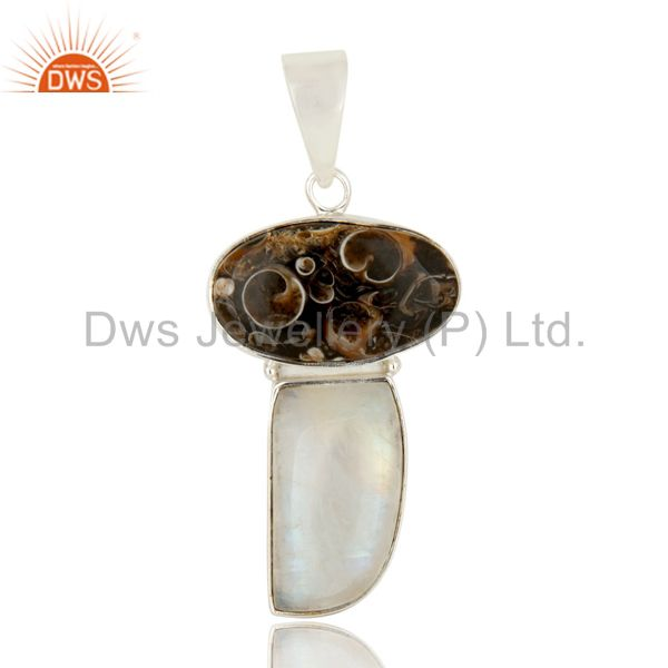 Natural Rainbow Moonstone And Turritella Agate Sterling Silver Gemstone Pendant